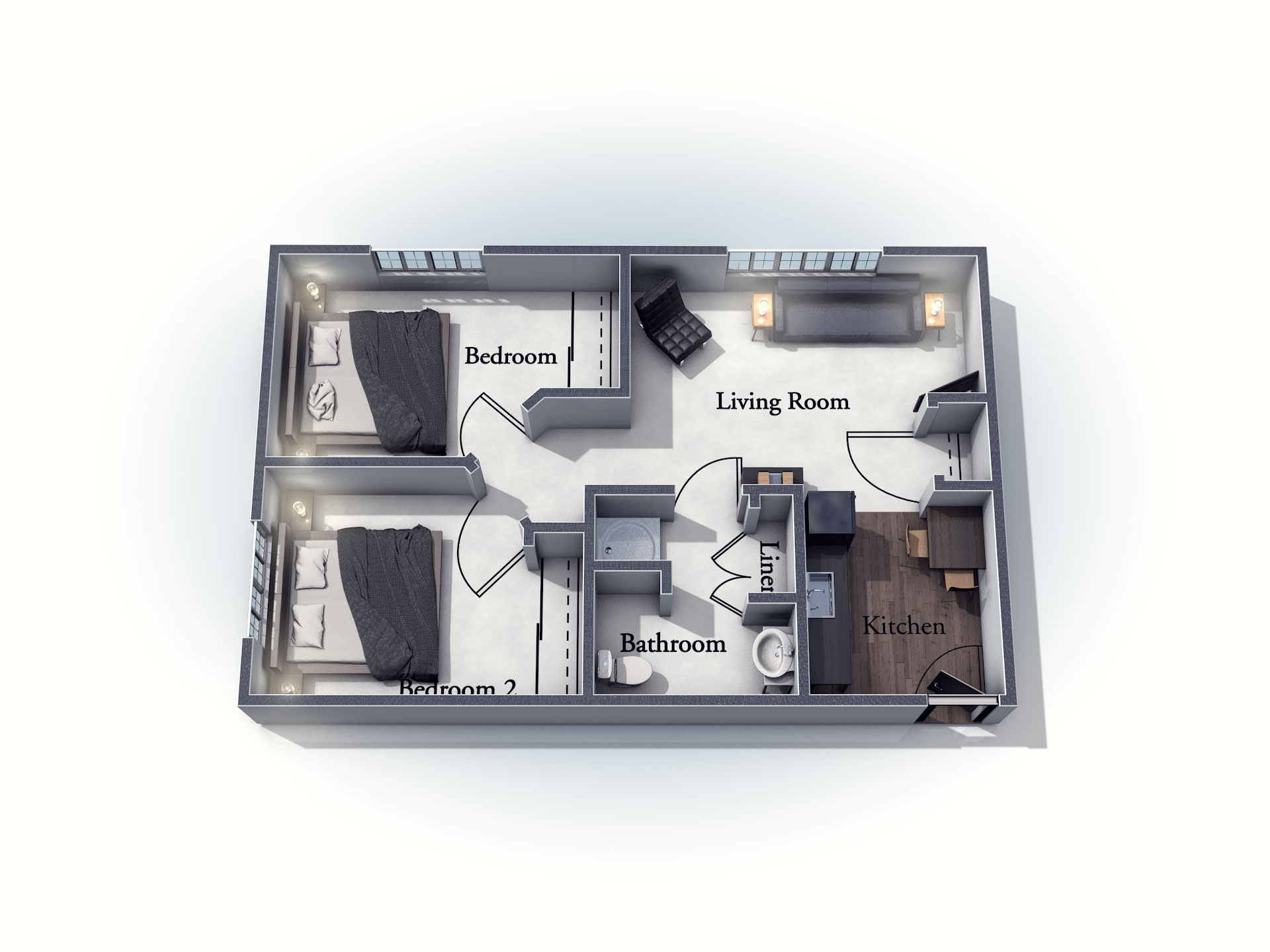 This 3D rendering of the Abberton living space shows an example of the floor plan layout. Please contact the Summit Pointe Senior Living Community for more information.