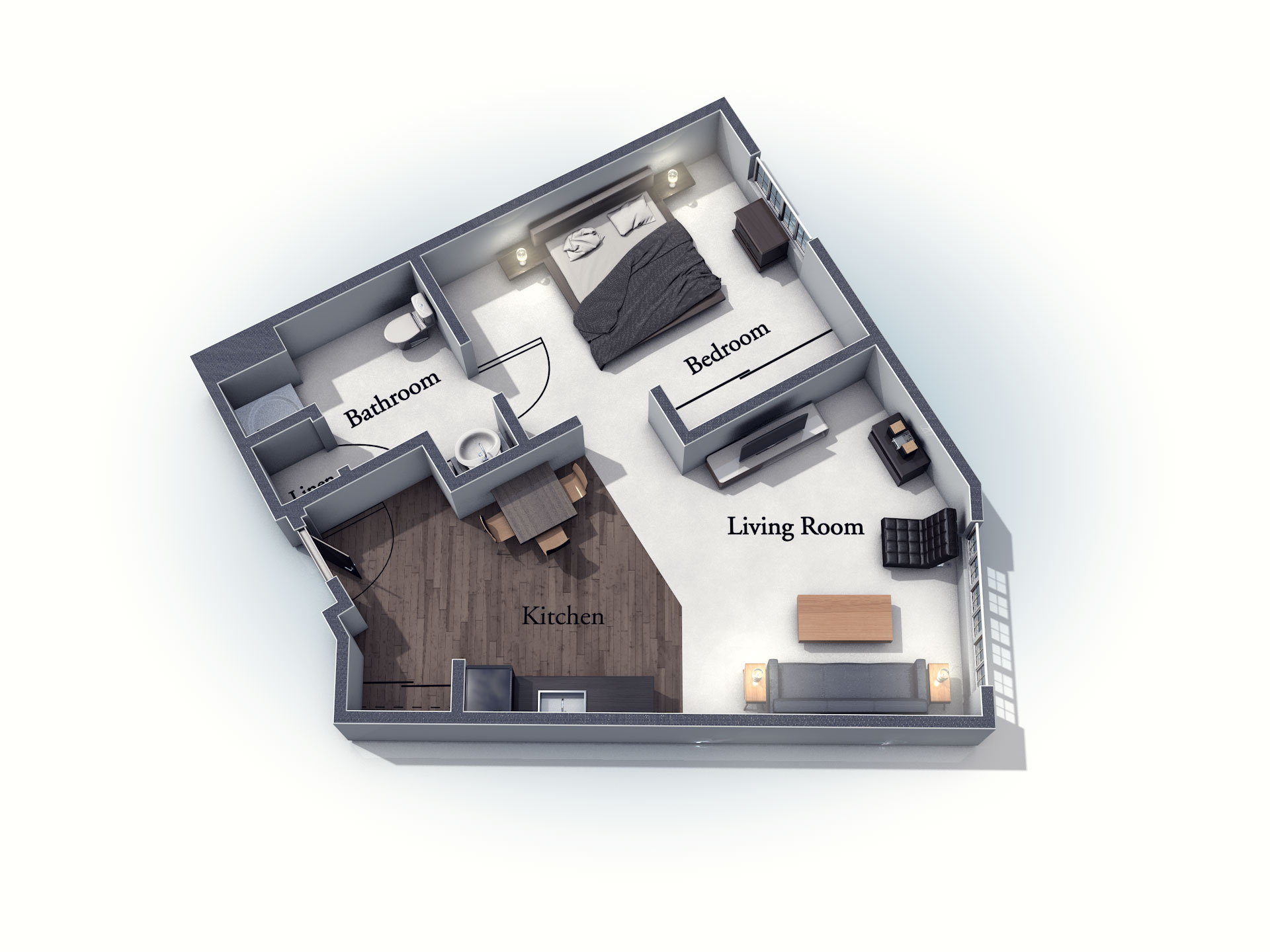 This 3D rendering of the Ashwell living space shows an example of the floor plan layout. Please contact the Summit Pointe Senior Living Community for more information.
