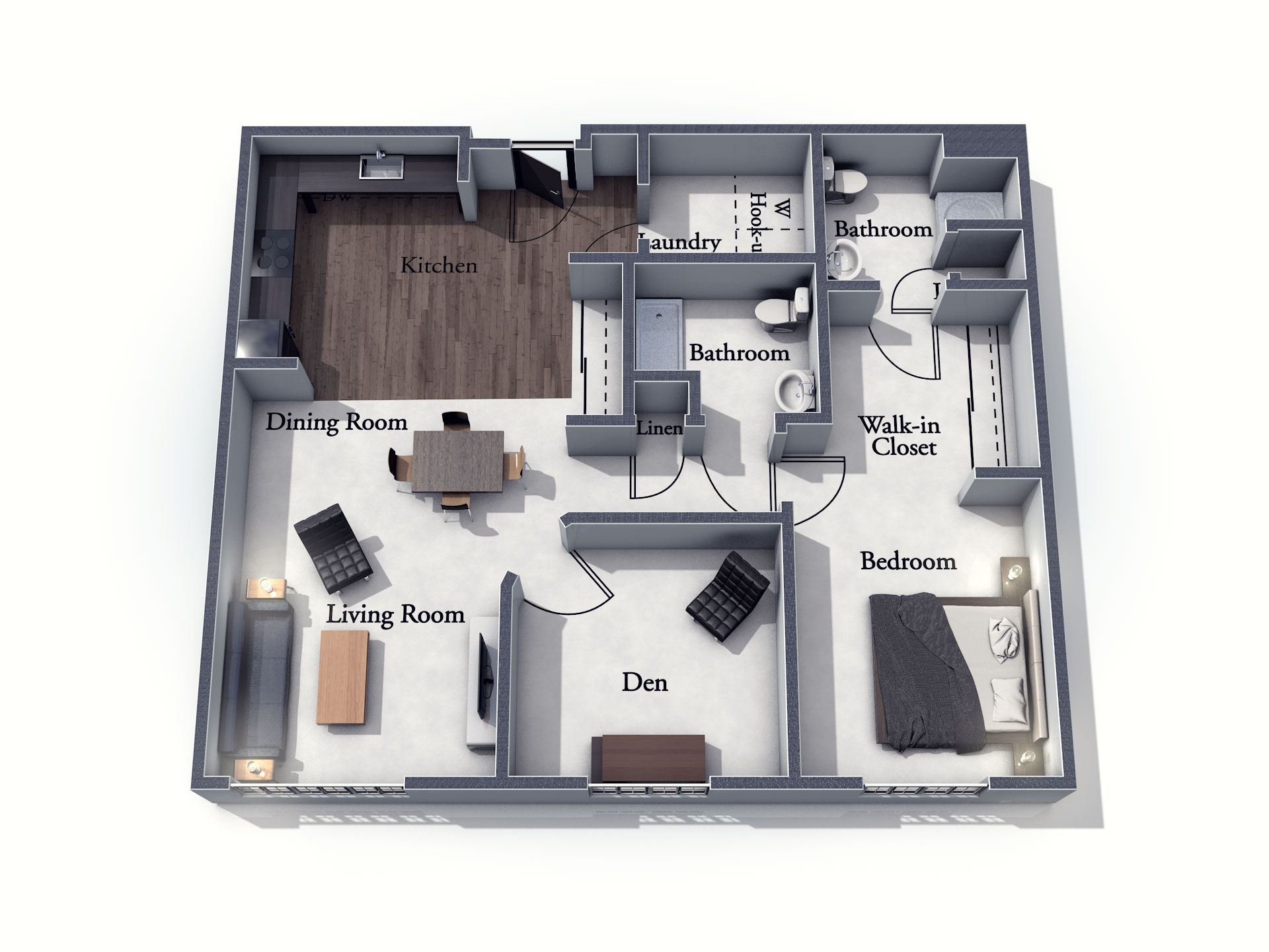 This 3D rendering of the Aylesbury living space shows an example of the floor plan layout. Please contact the Summit Pointe Senior Living Community for more information.