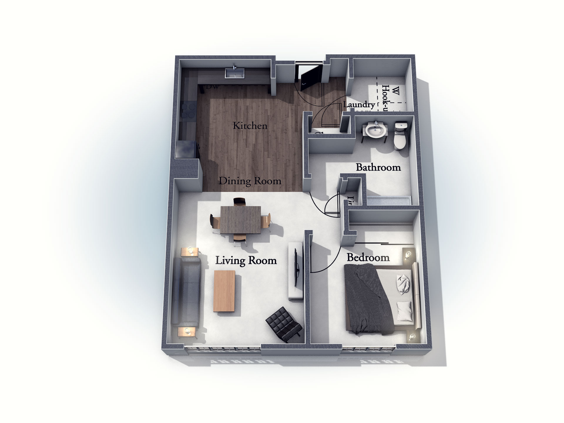 This 3D rendering of the Berkshire living space shows an example of the floor plan layout. Please contact the Summit Pointe Senior Living Community for more information.