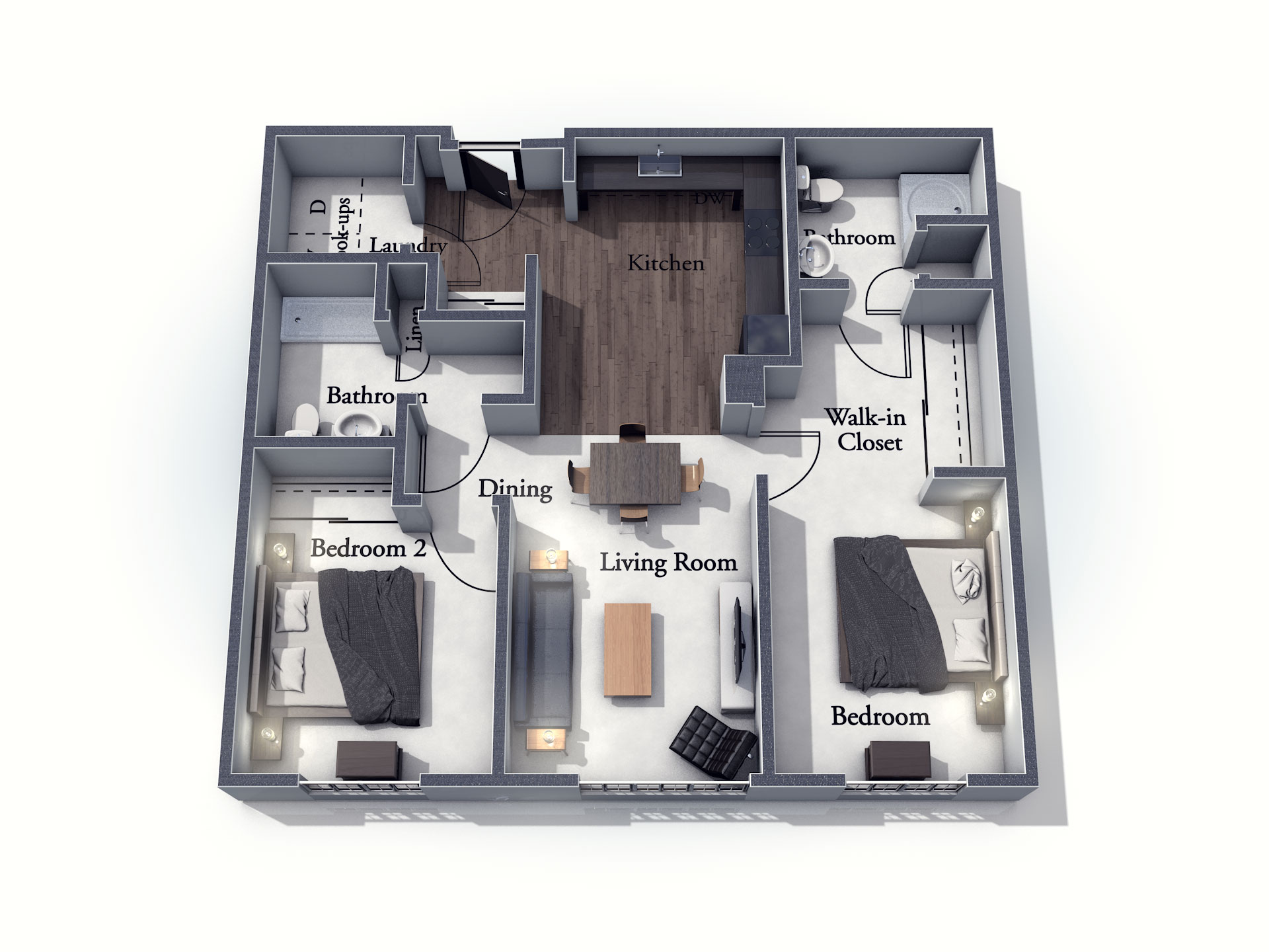This 3D rendering of the Brighton living space shows an example of the floor plan layout. Please contact the Summit Pointe Senior Living Community for more information.
