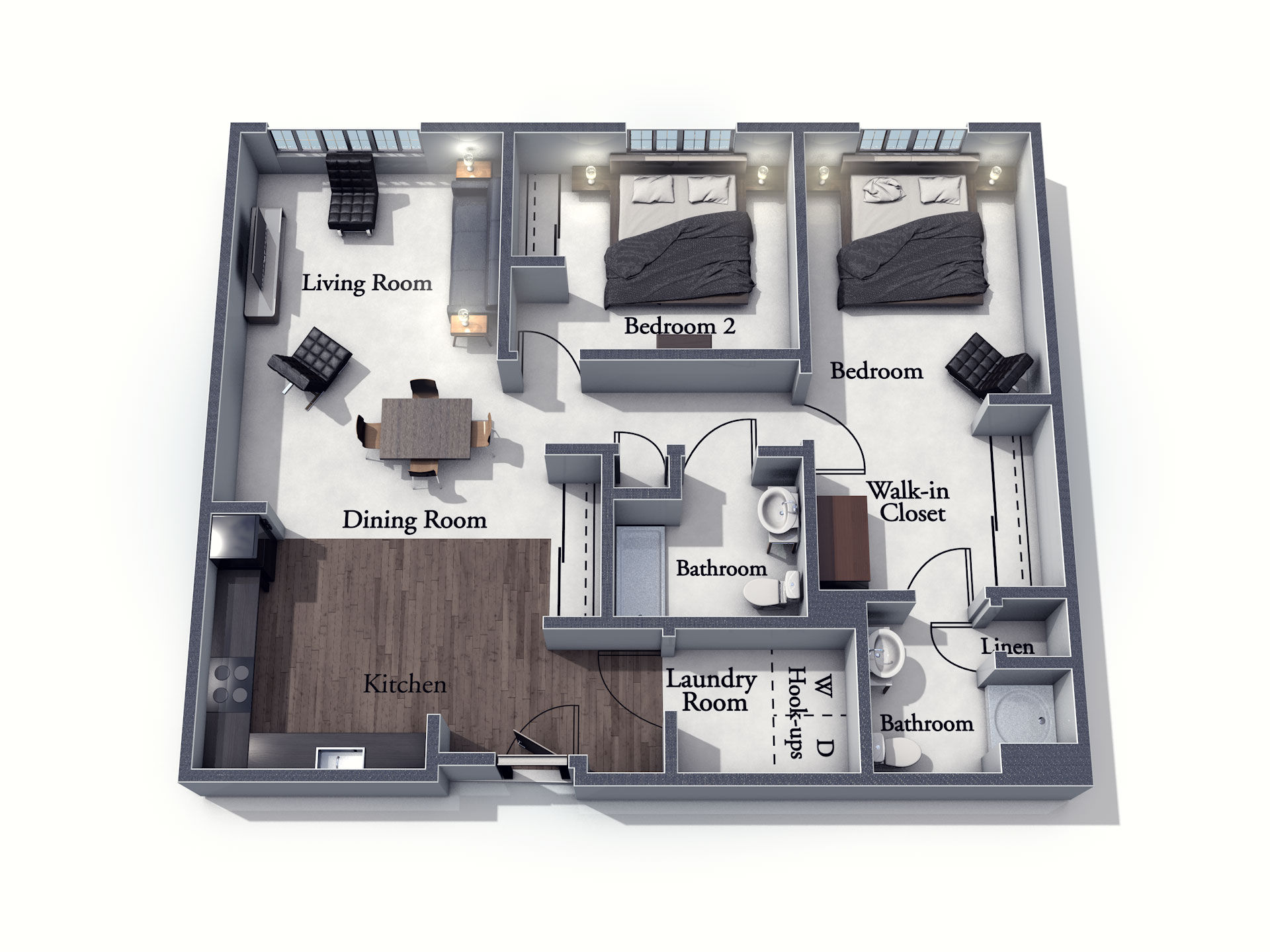 This 3D rendering of the Nottingham living space shows an example of the floor plan layout. Please contact the Summit Pointe Senior Living Community for more information.