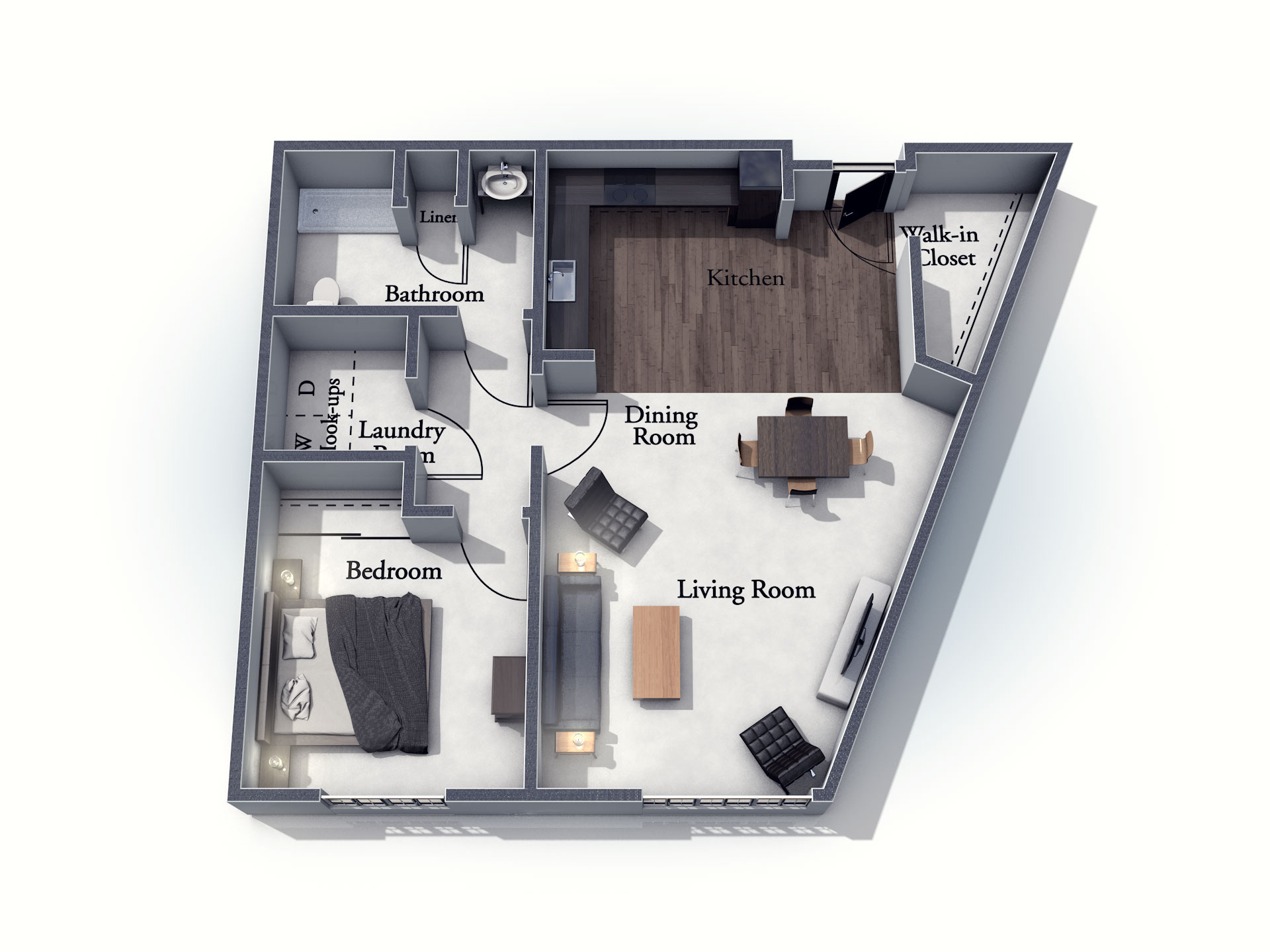 This 3D rendering of the Oxford living space shows an example of the floor plan layout. Please contact the Summit Pointe Senior Living Community for more information.