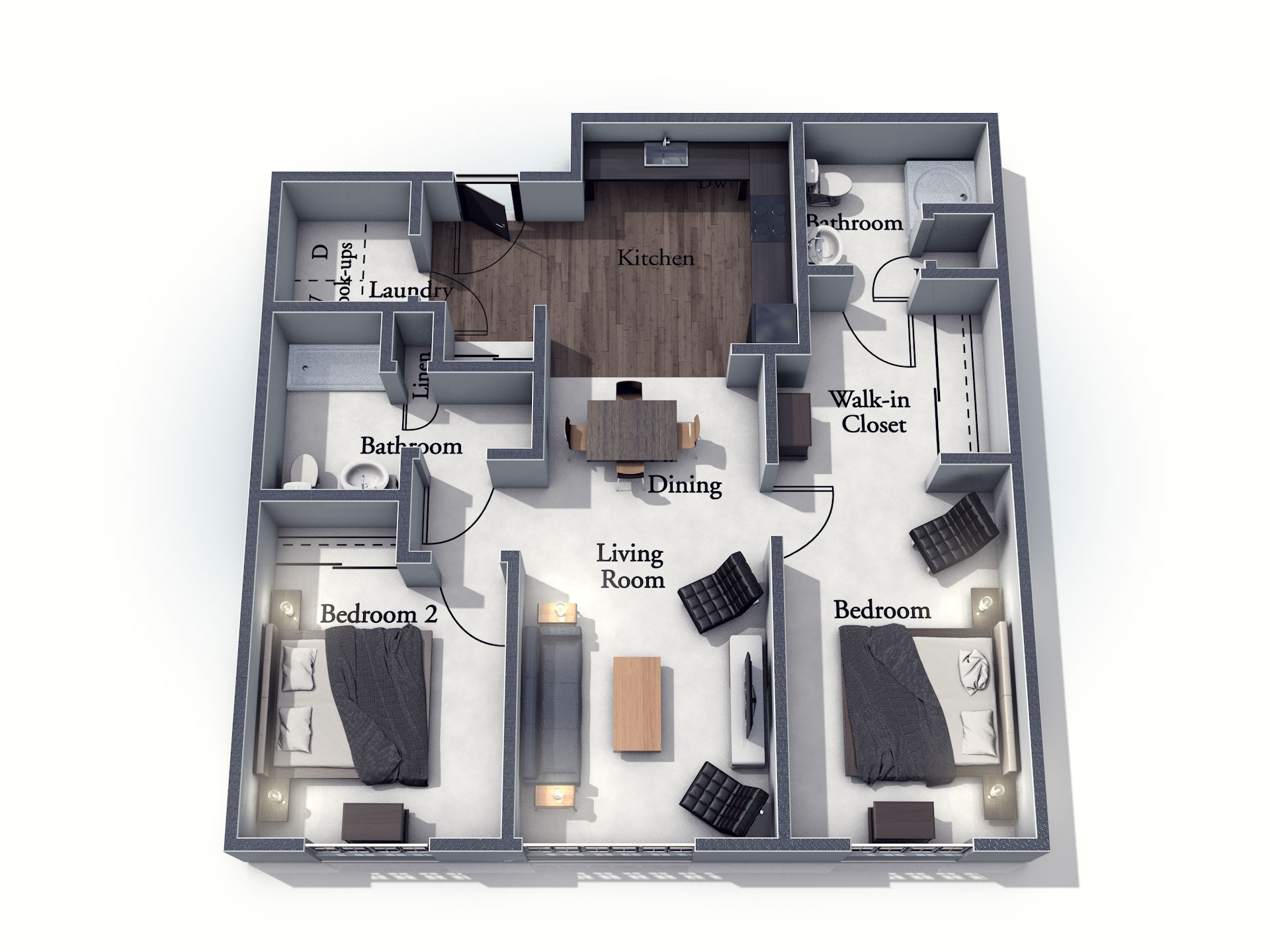 This 3D rendering of the Scarborough living space shows an example of the floor plan layout. Please contact the Summit Pointe Senior Living Community for more information.