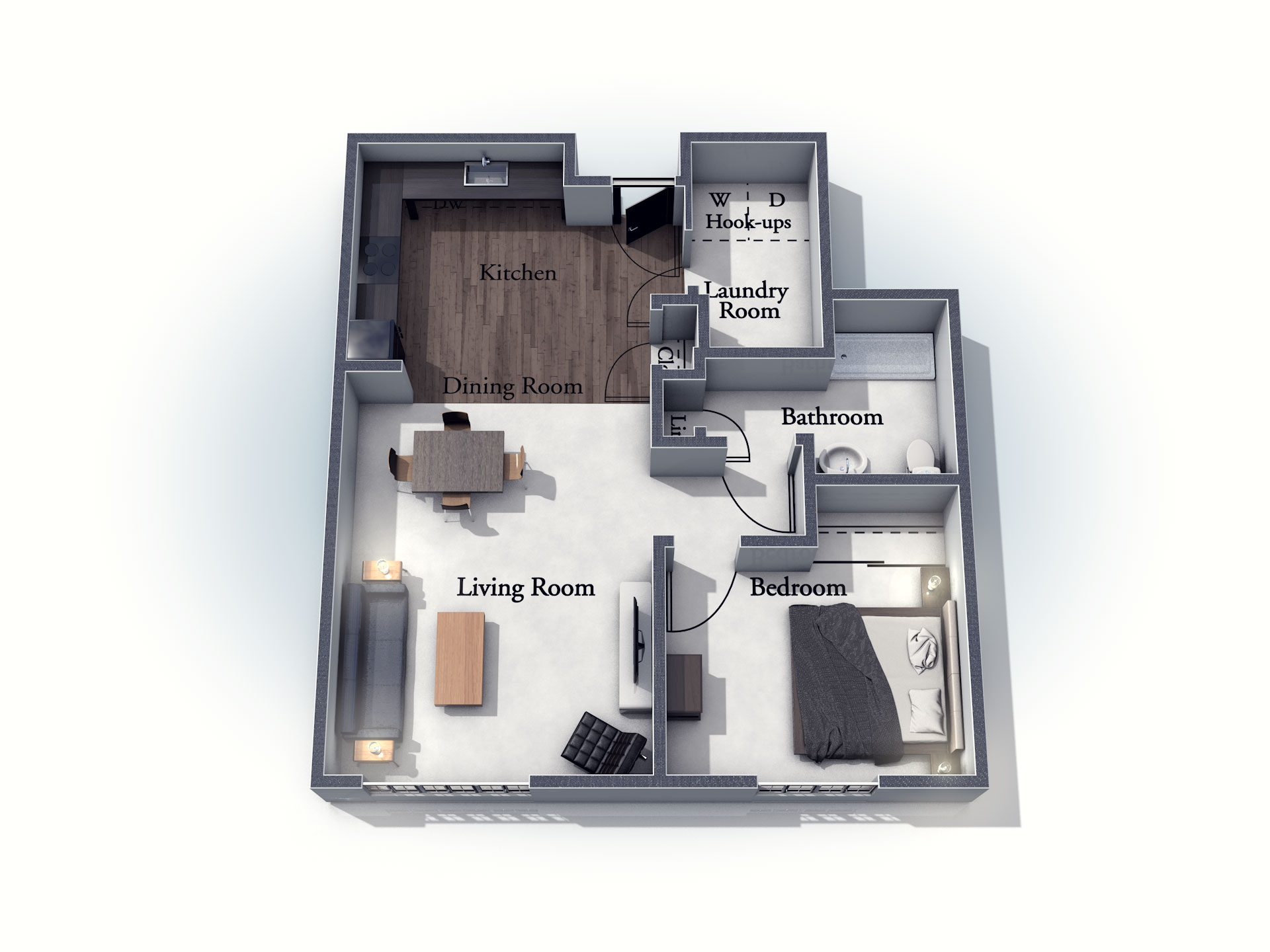 This 3D rendering of the Wiltshire living space shows an example of the floor plan layout. Please contact the Summit Pointe Senior Living Community for more information.