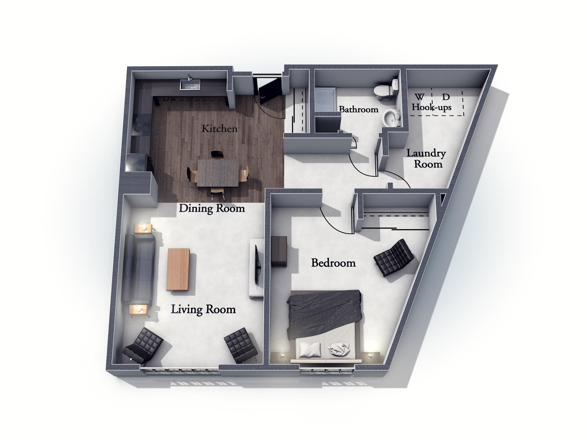 This 3D rendering of the Whitley living space shows an example of the floor plan layout. Please contact the Summit Pointe Senior Living Community for more information.