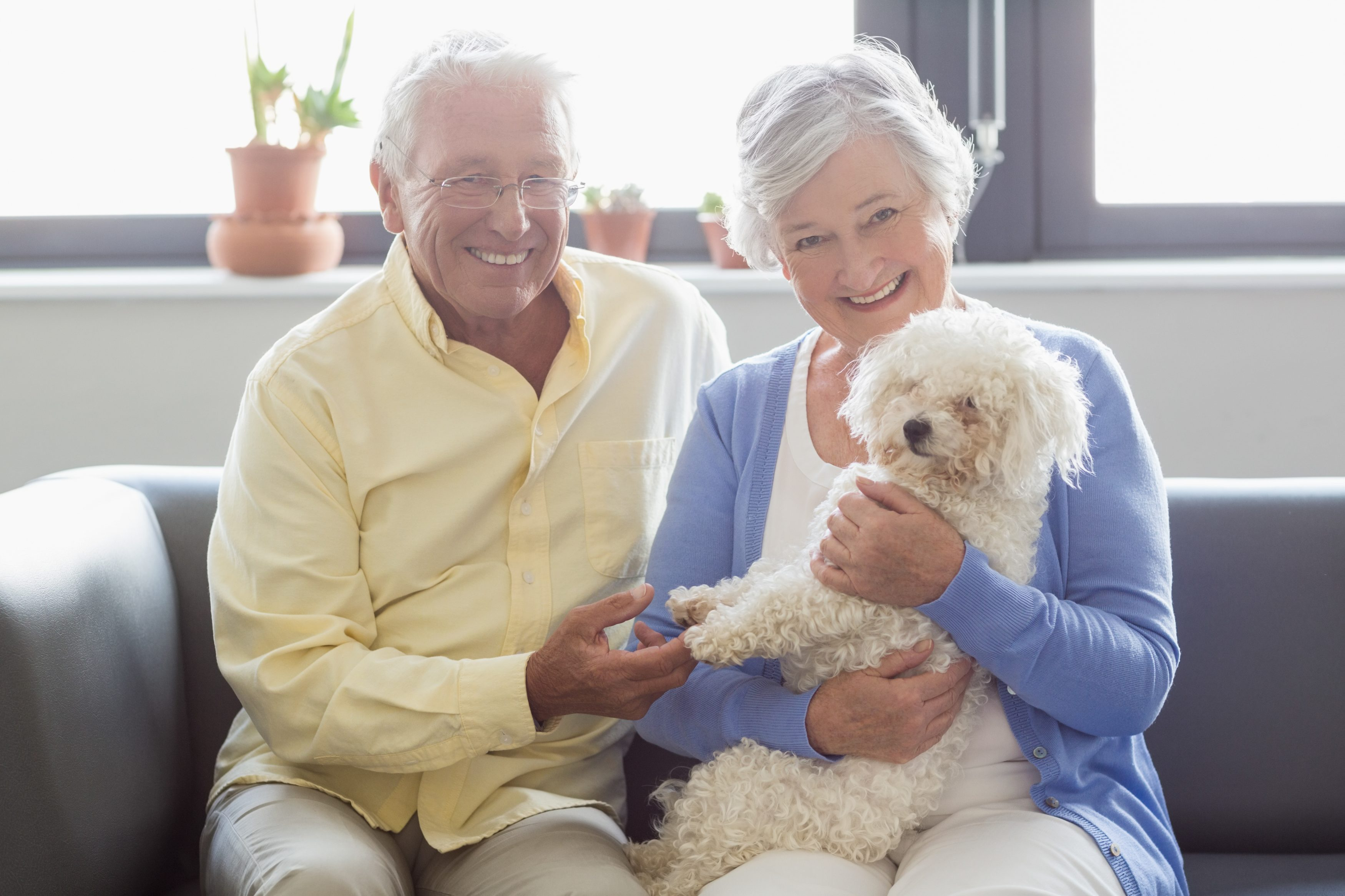 Senior Couple holding a dog