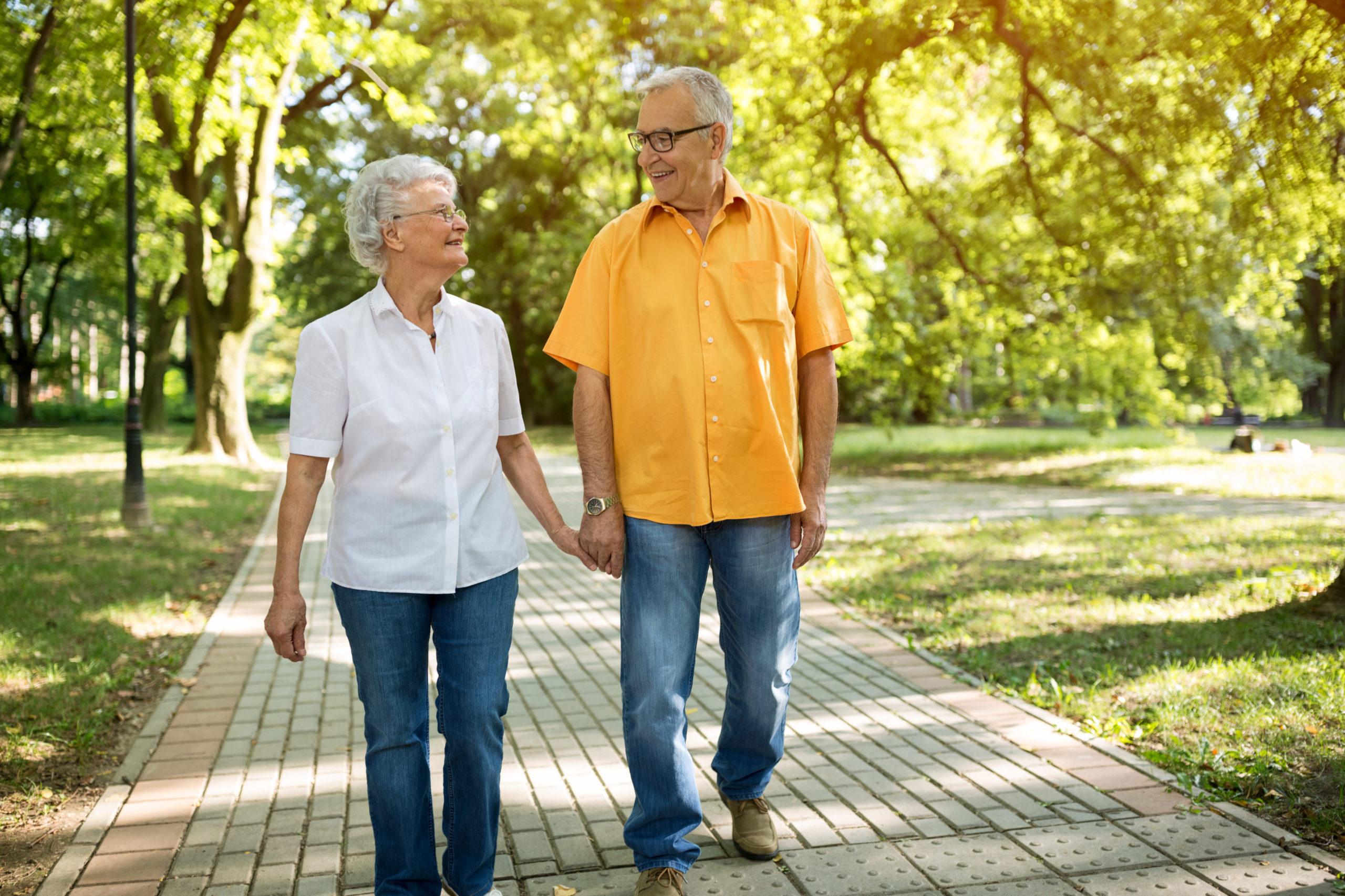 Senior couple enjoying a walk outdoors